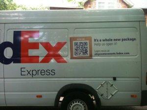 image: QR code on FedEx Van