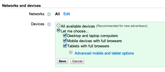 image: Adwords Devices Options