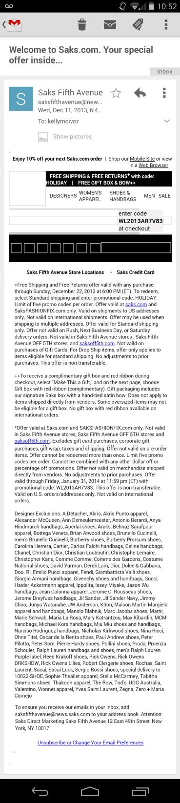 image: Saks' Full email