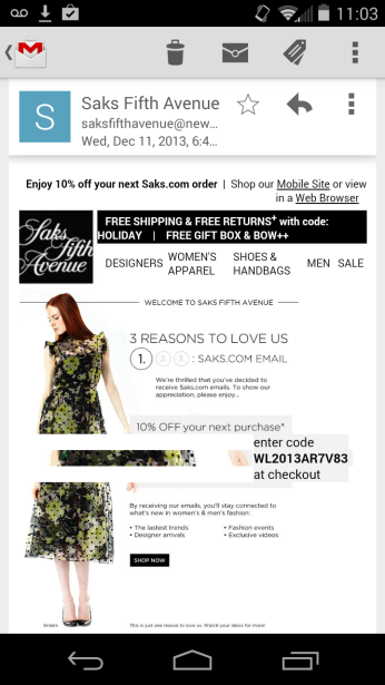 image: Saks email with pics